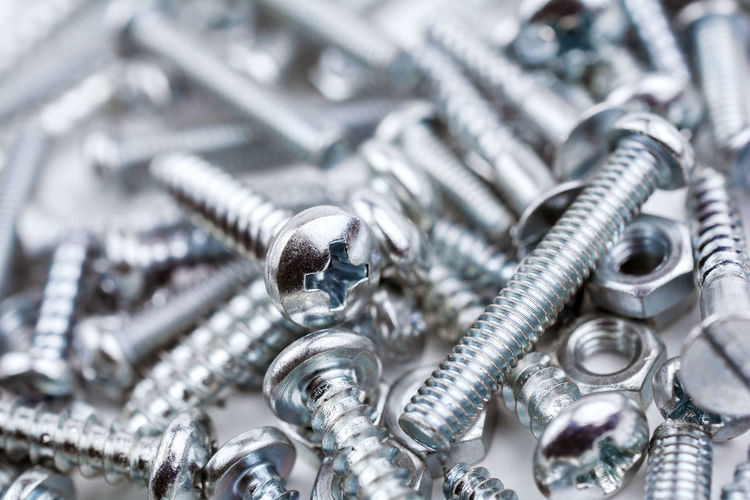 A Big Collection Of Various Iron Screws and Bolt Nuts Bolts And Screws DIY Iron Mess Nuts Reflection Screws Bolts Close-up Collection Craft Crafting Group Hardware Hardware Store Lockwasher Lying Down Macro Many Metal Mixed Tools Various Woodscrew