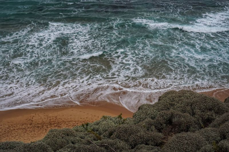 Sea Water Beach Shore Nature Beauty In Nature Sand High Angle View Wave Scenics Day Tranquility Outdoors Tranquil Scene No People