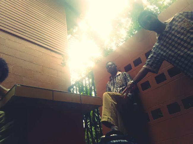 Maintaining the brotherhood bond Architecture Sunbeam Low Angle View Indoors  People Friendship Brotherhood