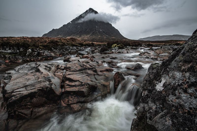 Glencoe Scotland Flowing Flowing Water Long Exposure Motion Mountain Mountain Peak Mountain Range Outdoors Power In Nature Rock Rock - Object Water Waterfall