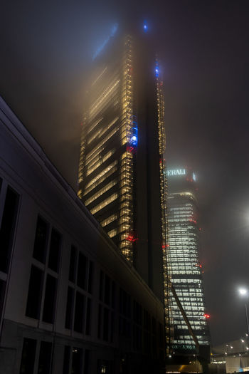 Fading My Best Photo Skyscraper Fog Foggy Foggy Day Allianztower Allianz Headquarters Building Exterior Architecture Illuminated Night Built Structure City Building Office Building Exterior Office Modern City Life Outdoors Tower