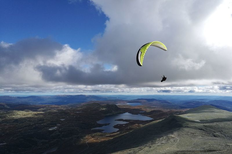 Extreme Sports Mid-air Nature Sky Outdoors Adventure Hangglider Landscape Norway Fall Lost In The Landscape