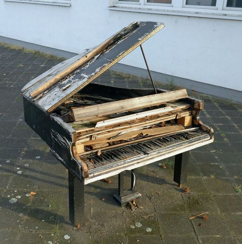 no strings attached Baby Grand Piano Day No People No Strings No Strings Attached Old Outdoors Piano Piano Keyboard  Still Standing Weathered Wooden