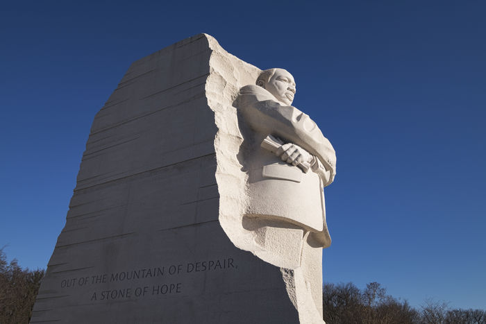 "Inscription. ""Out of the Mountain of Despair, a Stone of Hope."" Architecture Archival Blue Clear Sky Day History MartinLutherKingJr MLK No People Outdoors Representing Sculpture Sky Statue Travel Wisdom"