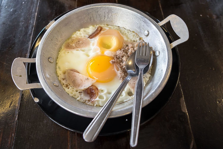 Breakfast Eating Utensil Egg Egg Yolk Food Food And Drink Freshness Fried Fried Egg Frying Pan Healthy Eating High Angle View Household Equipment Indoors  Kitchen Utensil No People Pan Preparation  Preparing Food Ready-to-eat Still Life Sunny Side Up Table Wellbeing