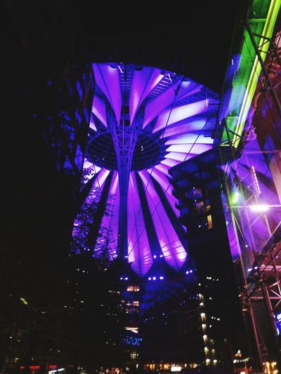 Discover Berlin Night Illuminated Low Angle View Arts Culture And Entertainment Sony Center Berlin Sony Center Berlin Berlin Mitte No People Multi Colored