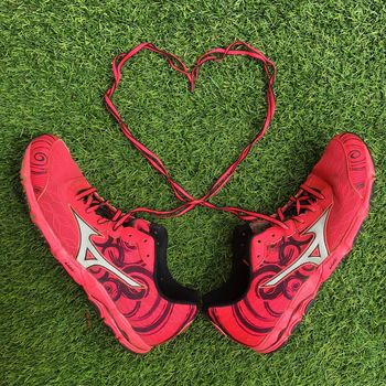 Athlete LOVE Running Run Runners Running Shoes Activeandnourished Activewear Athleisure Close-up Day Fitness Grass Heart Shape High Angle View Love Mizuno No People Outdoors Pink Shoes Red Sneaker Sneakers Sport Sports