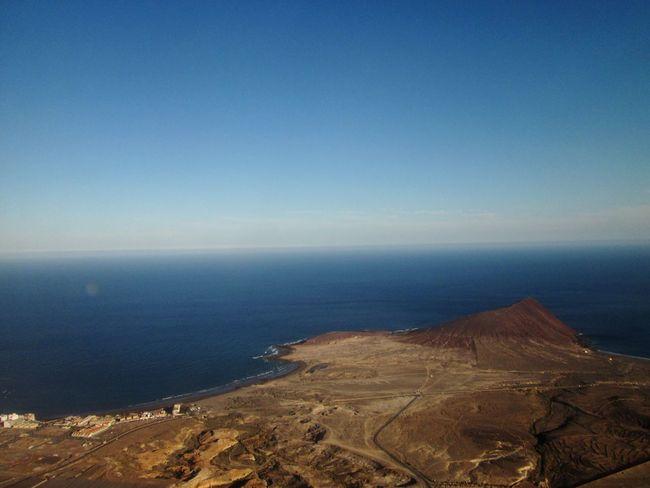 Aerial View Plane Window Tenerife Montaña Roja