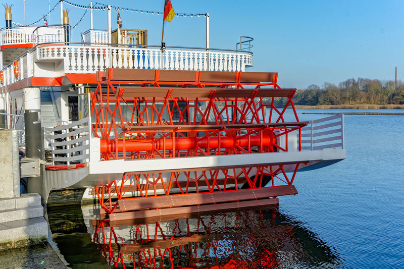 Raddampfer Water Architecture Built Structure Nature No People Day Sky Red Railing Building Exterior Outdoors Staircase Nautical Vessel Safety Reflection Transportation Protection Security Pier Kappeln Schlei Ostsee Schleswig-Holstein Travel Destinations Travel
