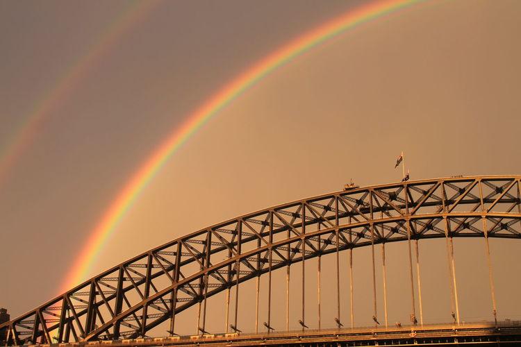 Australia Sidney Australia Architecture Bridge Bridge - Man Made Structure Connection Multi Colored Rainbow Sky Sunset