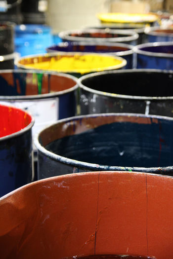 Industrial Industry Paint Arts Culture And Entertainment Choice Close-up Color color palette Day Dyes Focus On Foreground For Sale Group Of Objects In A Row Indoors  Ink Large Group Of Objects Manufacturing Multi Colored Musical Equipment No People Painting Selective Focus Still Life Variation