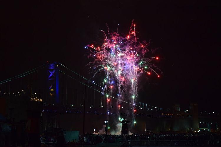 Colorful fireworks! - Penn's Landing - 01/01/17 85mm Ben Franklin Bridge Exploding Fireworks Happy New Year Multi Colored Night Photography Penn's Landing Philadelphia