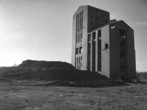 Architecture Ballantine's Ballantines Black And White Black And White Photography Building Exterior Built Structure Day Derelict Derelict & Abandoned Derelict Building Distillery Dumbarton Grain Tower Low Angle View Mountain Nature No People Outdoors Sky