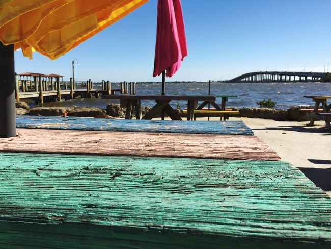 Weathered wood picnic table. Picnic Table Picnic Tables Umbrellas Beach Cafe Eau Gallie Indian River Florida Florida Life Beachfront Colorful Life Bridge Fishing Pier IPS2016Texture