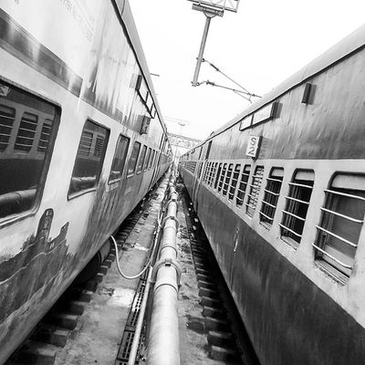 Avoid the Clutter coz its India!! 😐 Blackandwhite Picture Twotrains Mine Left Wala 😛 Likeforlike Follow4follow 😃