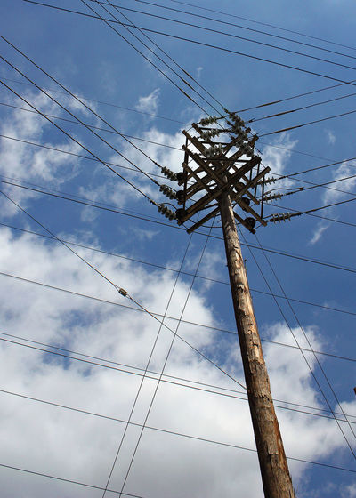 Electrical Tower Cable Cloud - Sky Connection Day Electricity  Electricity Pylon Fuel And Power Generation Low Angle View No People Outdoors Power Line  Power Supply Sky Technology Telephone Line