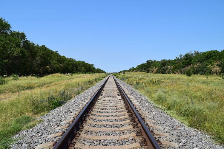 Blue Clear Sky Copy Space Day Diminishing Perspective Direction Grass Green Color Long Nature No People Non-urban Scene Outdoors Parallel Plant Rail Transportation Railroad Track Sky Straight Surface Level The Way Forward Track Transportation Tree vanishing point
