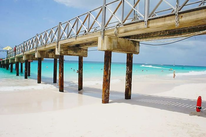 Beach days Beach Sea Bridge - Man Made Structure Travel Destinations Sand Outdoors Water Horizon Over Water Sky Beauty In Nature Barbados