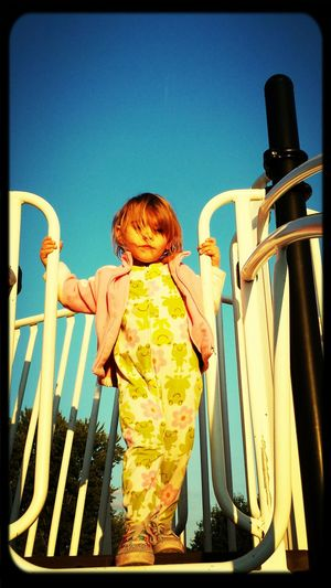 Cora contemplating going down the fireman's pole at the playground Let Them Be Little Kidsdosomecrazythingsandthenwhentheygrowupyouhaveembrassingstorystotellaboutthem Family First ♡☆