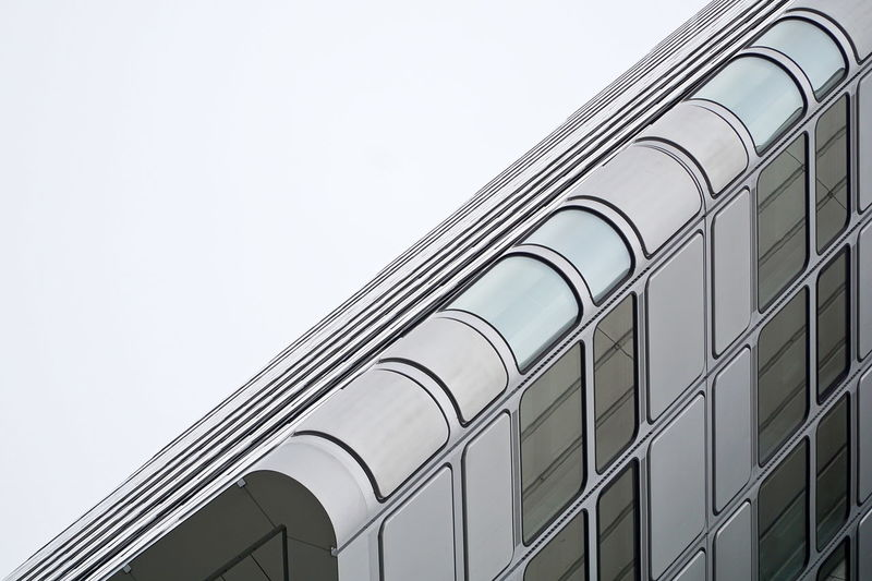 Close-up of modern building against clear sky
