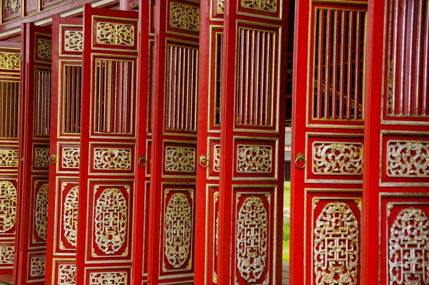 43 Golden Moments Architectural Feature Design Detail Doors Full Frame Golden Huế Imperial Enclosure Imperial Palace Palace Pattern Red Red Vietnam Wooden Door Fine Art Photography