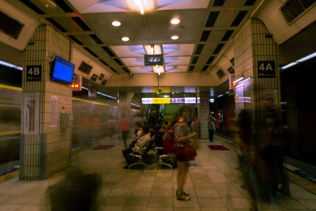 Architecture Subway Station People Day Indoors  Transit Train Station Travel Destinations ASIA Waiting For A Train Long Exposure