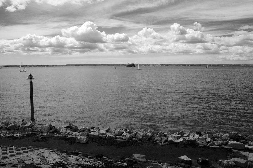 Spring Sailing Black & White Beauty In Nature Blackandwhite Cloud - Sky Day Horizon Over Water Isle Of Wight  Nature Outdoors Sail Boats Sailing Scenics Sea Sky Tranquil Scene Tranquility Water