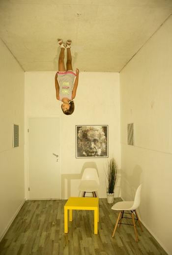 Muzej Iluzija Lubiana Lubiana Museum Illusion Museum Upside Down Table Chairs Girl Little Girl