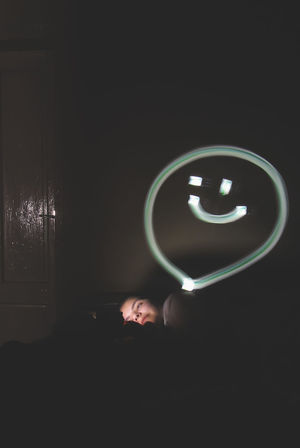 Dark Emoji Feel Feeling Girl Happiness Happy Illuminated Indoors  Night One Person People Smile Space