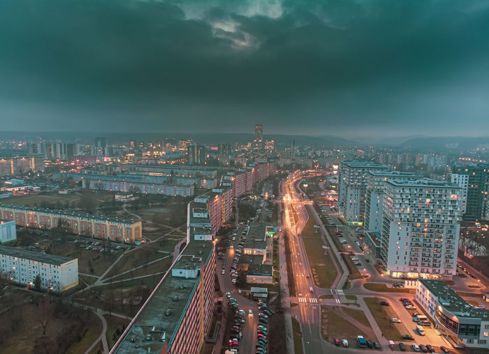 Gdansk przymorze at night from above