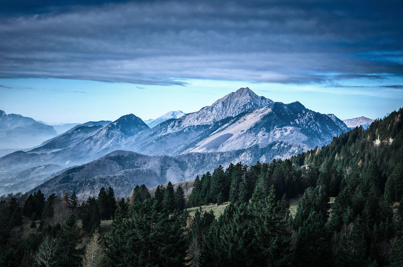 Slovenia beautiful scenic mountain landscape with forrest in the forground. Superb Hiking destination Adventure Hiking Mountain Mountains Mountaneering Nature Rock Slovenia Storzic Summit Trekking Trip
