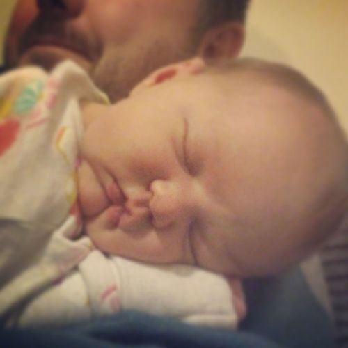 Edelyn's pooped after a long day of sleeping and being cuddled Babym Snoozing