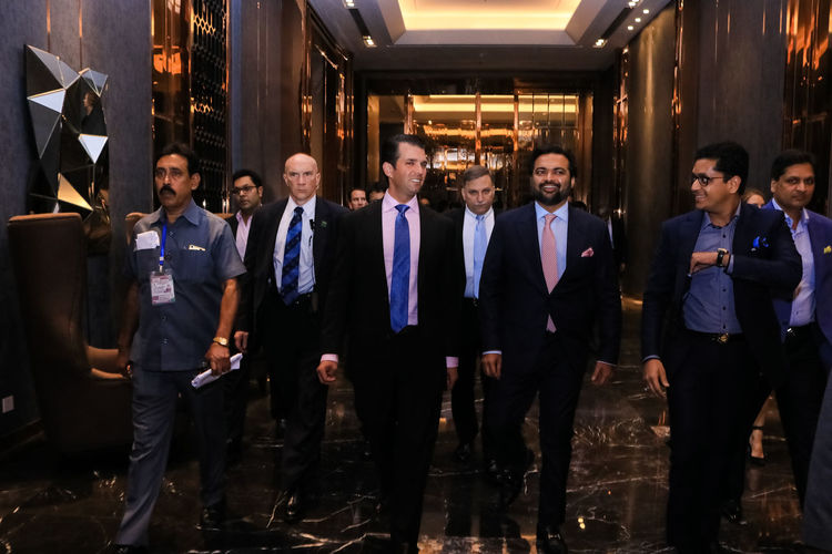 Donald Trump in kolkata for opening Trump Tower Suit Well Dressed Man Security Police Body Guard Talking Conversation People Walking Celebrity Real Estate Entry Jw Marriott Hotel Trump Tower Kolkata Donald Trump Donald Trump Jr Happy Hour Nightclub Party - Social Event Men Smiling Portrait Nightlife Full Length Cheerful Actor