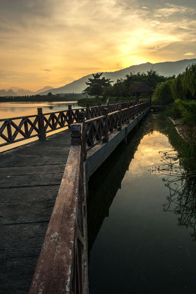 Sunrise Animal Themes Architecture Beauty In Nature Bridge - Man Made Structure Cloud - Sky Day Lake Large Group Of Animals Mammal Nature No People Outdoors Scenics Sky Sunset Tranquil Scene Tranquility Tree Water