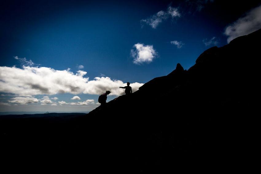 Black And Sky Blue Sky Goatfell  Hiking People Pointing Scotland Shadow