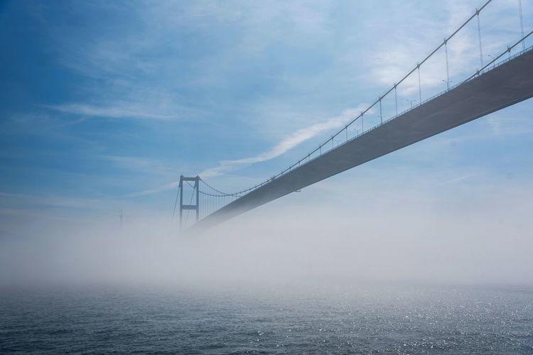 Low angle view of suspension bridge over sea