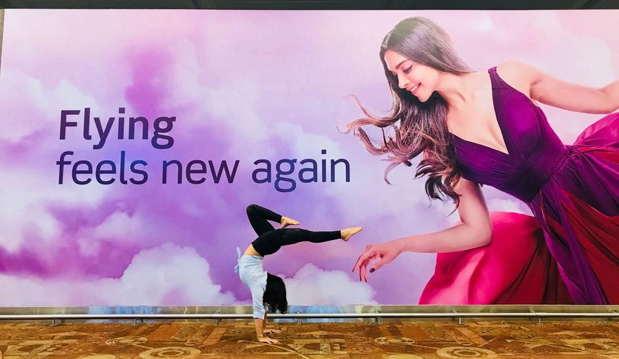 Feeling new ❤️ Real People Text Western Script Full Length Lifestyles Women Young Adult One Person Communication Leisure Activity Auto Post Production Filter Young Women Pink Color Wall - Building Feature Smiling Emotion Transfer Print Day Purple Human Arm