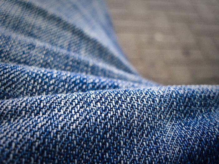 Close-up of blue denim