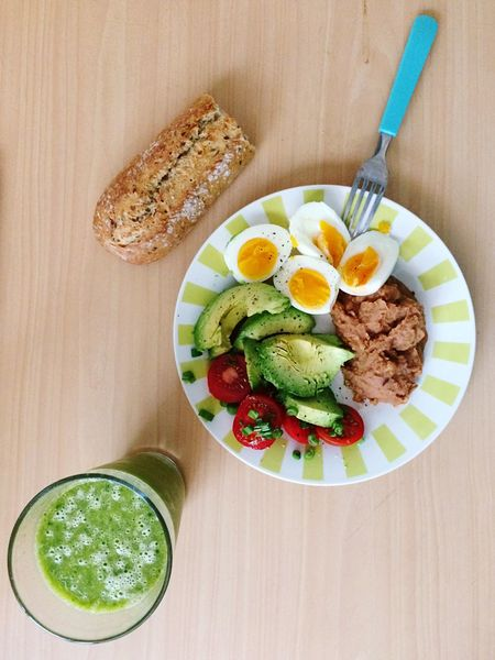 Diet & Fitness Real Food Avocado Green Juice Green Smoothie Healthy Eating Food And Drink Freshness Directly Above High Angle View Breakfast Ready-to-eat Food No People Plate Egg Serving Size Table Indoors