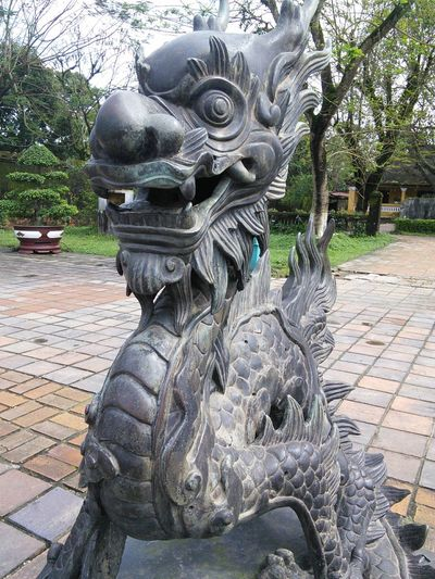 Art And Craft Close-up Day Dragon Hue Imperial City Hue Vietnam No People Outdoors Sculpture Statue Tree Vietnam Travel