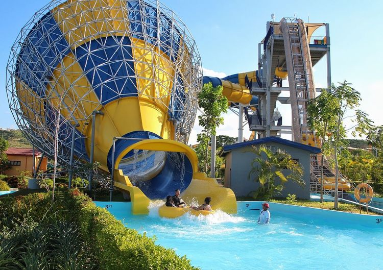 outdoor fun Swimming Outdoor Outdoor Fun Outdoor Slides Outdoor Slide Lifeguard  Water Water Slide Swimming Pool Tourist Resort Arts Culture And Entertainment Blue Sky Water Park Slide - Play Equipment Outdoor Play Equipment Slide