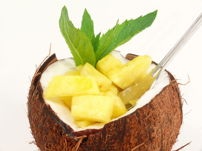 Ananas Close-up Coconut Dessert Food And Drink Freshness Healthy Eating Leaf No People Ready-to-eat Studio Shot Tropic Fruits Tutti Frutti Tuttifrutti White Background