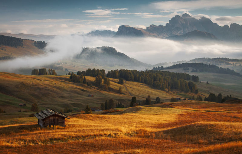 Scenic view of dolomites landscape against sky