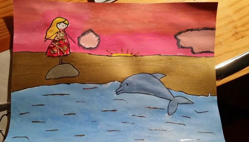 43 Golden Moments Blond Child Painting Close-up Cute Dolphin Gift Girl Gold Handmade Jumping No People Paper Pink Cloud Stone Water Woman Contest Drawing Multi Colored Swimming Fairy Tale Creativity