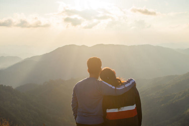 Love Together Valentine Couple Romantic Two People Mountain Beauty In Nature Togetherness Scenics - Nature Men Mountain Range Real People Bonding Sky Lifestyles Non-urban Scene Emotion Leisure Activity Nature Tranquil Scene Couple - Relationship Standing Positive Emotion Arm Around Outdoors Looking At View