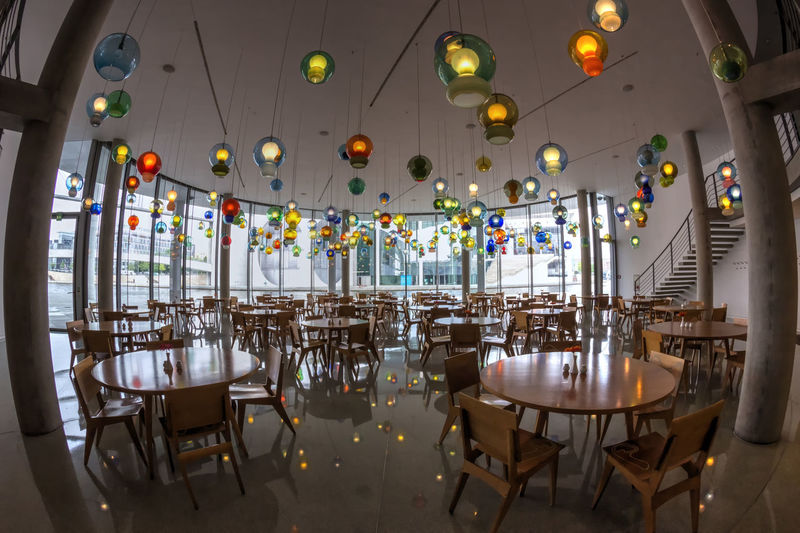 Paul-Löbe-Haus Berlin Kantine Architecture Berlin Erichs Lampenladen 2005 Government District Paul-Löbe-Haus Capital Chair Chairs Day Fisheye Food And Drink Industry Germany Illuminated Indoors  Kantine Lampen Large Group Of Objects No People Restaurant Table