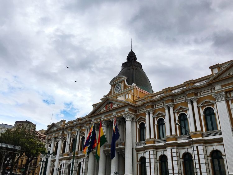 The Bolivian Congress at Plaza Murillo in La Paz City IPhoneography On A Holiday Travel Traveling Bolivia Architecture Outdoors Clouds