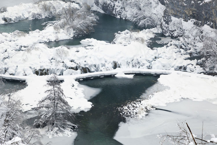 High angle view of frozen lake