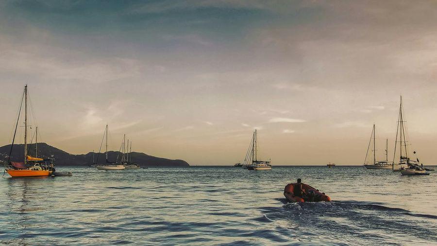 Sail Away Sunset Beachphotography Boat Sailing Sea Sky Ship Landscape Evasion Departure Ocean Seascape Blue Wave