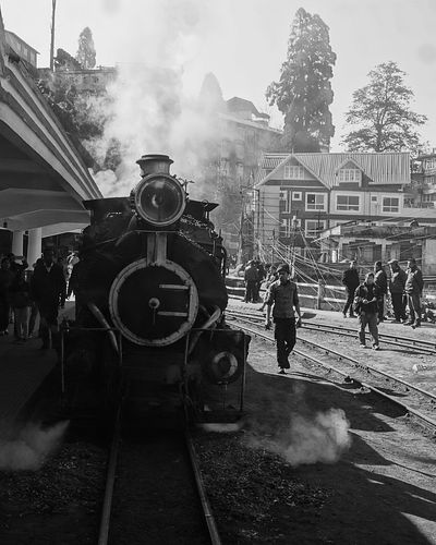Only Men Real People Men One Man Only Adults Only One Person People Adult Full Length Outdoors Day Toy Train Heritage Smoke - Physical Structure Travel Queen Of Hills Darjeeling DARJEELING BEAUTY Darjeeling Himalayas Darjeeling Rail Black And White Friday